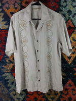 Tommy Bahama mens solid khaki brown green blue embroidered silk camp shirt L EUC
