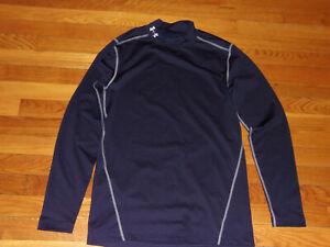 NEW UNDER ARMOUR COLDGEAR LONG SLEEVE NAVY BLUE FITTED MOCK JERSEY MENS SMALL