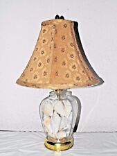 "LAMPS VINTAGE 18""H SEASHELLS IN A GLASS TABLE LAMP w/ 8""H x 11""w w/FABRIC SHADE"