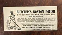 1903 BUTCHER'S BOSTON POLISH ADVERTISING BOSTON MA. Print Ad Vintage