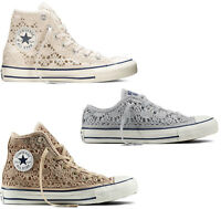 SCARPE CONVERSE  ALL STAR CHUCK TAYLOR CROCHET ALTE DONNA PURE HI SHOES OX