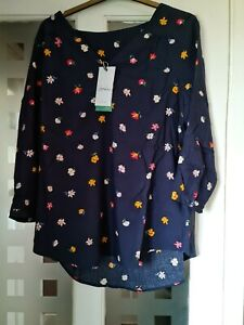 JOULES WOMENS BRIELLA WOVEN TOP. COLOUR. NAVY MULTI DITSY FLORAL. SIZE UK.14