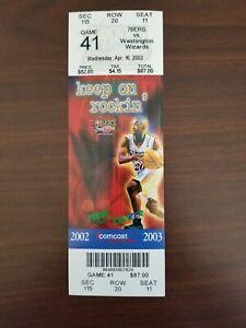 Michael Jordan Last Game Ticket Unused April 16 2003 Sixers Vs Wizards HOF NBA