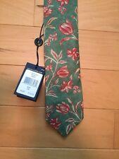 NWT Ralph Lauren Polo Necktie Vintage Look Flowers Handmade In Italy Wool & Silk