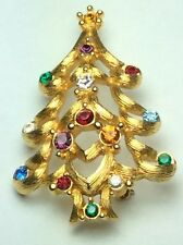 Vintage MONET Christmas Tree Brooch Swagged Branches w/Open Heart & Rhinestones