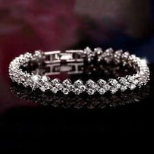 18K White Gold Finish Natural Tuscany Heart Bracelet Lab Diamond on Brass