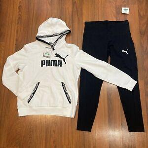 Puma Women's Hoodie Sweater Pants 2pc Set Size L Tracksuit Black, White New