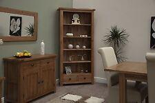 Denver large bookcase solid rustic oak living room office furniture