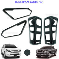 Set Black Kevlar Head Tail Light Lamp Cover For Isuzu Holden D-Max 4x2 2016-2017