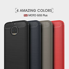 For Motorola Moto G5S Plus C Z2 Play Armor Carbon Fiber Hybrid Brush Cover Case