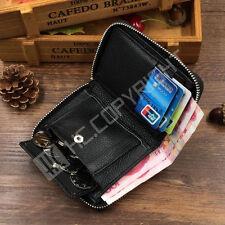 Men's Genuine Leather Bifold Zip Around Wallet Coin Purse Credit Card Holder