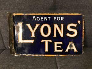 "Original Enamel Double Sided Advertising Sign - ""Agent For Lyons' Tea"""