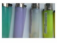 Pack Of 4 Neon Mixed Color Pastel Clipper Lighters ,Clear,Purple,Blue,Green