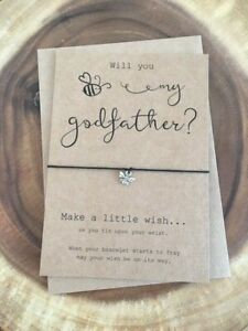 Will You Bee Be My Godmother Godfather? Christening Baptism Wish Bracelet Gift