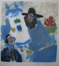 """THEO TOBIASSE ISRAELI ETCHING """"BEARDED MAN WITH WOMAN"""" C 1990"""