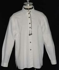 "WHITE ~ COTTON German LONG SLEEVE Women Dress Western Skirt BLOUSE Top/B43""/16 L"