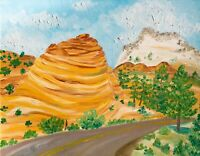 Zion National Park Oil Painting Southern Utah Desert Landscape Zion Canyon Rocks
