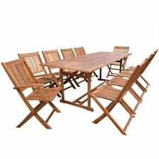 Outdoor Patio Acacia Wood Dining Set 11 Piece Table Chair Deck Garden Furniture