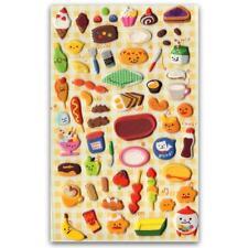 CUTE DESSERT STICKERS Food Puffy Vinyl Raised Sticker Sheet Craft Scrapbook