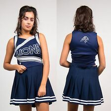 WOMENS VINTAGE CHEERLEADER NAVY BLUE LIONS TOP USA HIGH SCHOOL VARSITY 8
