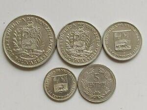 Venezuela set of 5 coins 2+1 bolivares 50+25+5 centimos 1964-1967