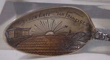 Rare Golden Gate San Francisco Bay Sterling Silver Antique Souvenir Spoon RM & S