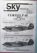 Skymodels 1/48 48047  Curtiss P-40 Warhawk  decal set