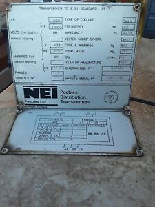 Vintage NEI Peebles Distribution Transformers 1987 Id Sign