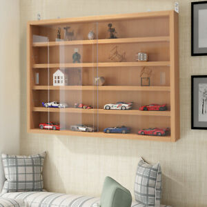Wall Display Cabinet Glass Laminated Models Collections Shelf Storage Cupboard