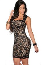 Black Lace Nude Illusion Vintage Style Midi Party Dress Medium