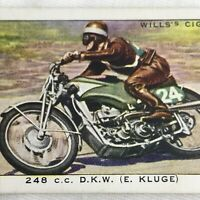 Racing Motorcycle 248cc DKW Wills Cigarette Tobacco Card Vintage 1930s