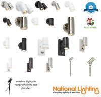 OUTDOOR LIGHTS SECURITY PIR SPIKE WALL SPOT STAINLESS STEEL BLACK WHITE LED IP44