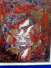 Peinture à l'huile sur carton entoilé, Portrait expressionniste, signée Daigre.