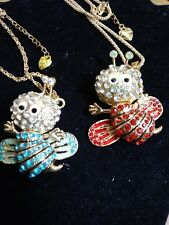 2-Betsey johnson Crystal Bumblebee necklaces