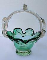 "Mid Century Italian Art Glass Basket Emerald Green Vase Dish 8"" BEAUTIFUL."