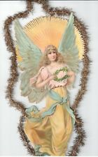 LARGE ANTIQUE VICTORIAN CHRISTMAS TINSEL DIE CUT ORNAMENT ANGEL SUNBURST HOLLY