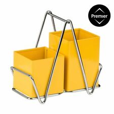 2 Compartment Cutlery Caddy Holder Yellow Colour