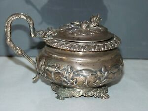 Superb Antique Georgian Sterling silver mustard pot, London silver 1824, 183.8g