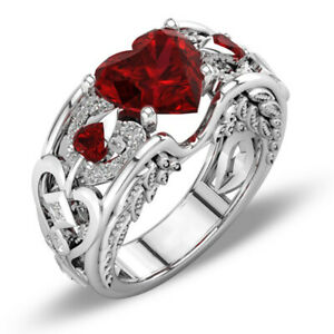 Elegant Green Emerald Wedding Bridal Ring 10Kt White Gold Jewelry Gift Size 5-11
