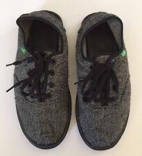 Sanuk Black & Grey Striped Slip-On / Lace-Up Shoes Size 9 US