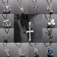 20pcs MIx Silver Leather Alloy Chain Pendant Necklace Jewelry Wholesale Lots YFP