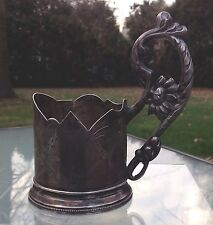 RUSSIAN SILVER TEA GLASS HOLDER W/ INSCRIPTION TO THE HERO OF WWI AND CIVIL WAR.