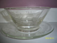 Princess House Heritage Crystal Etched Mayonnaise Bowl & Underplate
