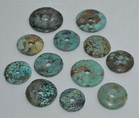 Group 12 Old Chinese Turquoise Discs of Varying Sizes New Old Stock