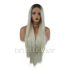 ROOTED BROWN|PLATINUM BLONDE STRAIGHT LONG|HEAT  SAFE|SOFT SWISS LACE FRONT  WIG