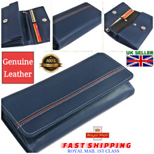 Ladies Leather Bifold Wallet Women Purse Navy Blue Cash Multi Credit Card ID