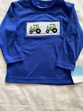 Nwt Anavini Hand Smocked Green Tractor Shirt Size 2