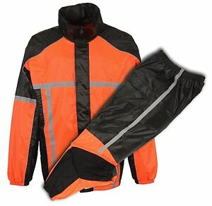 Motorcycle 2 Pc Waterproof Blk Orange Mens raingear rainsuit reflective piping