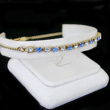 "14K GOLD GL Sapphire BLUE 3mm AUSTRIAN CRYSTAL 12"" Ladies Anklet 