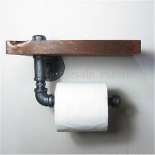 Industrial  Wall Mount Iron Pipe Toilet Paper Holder Roller Wood Shelf